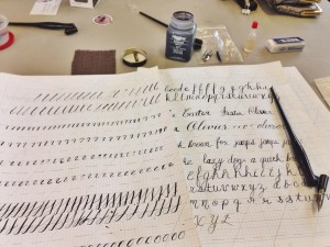 Calligraphy is a perfect rainy-day activity. Please excuse my beginner's hand. (Photo: Nikki Carter)