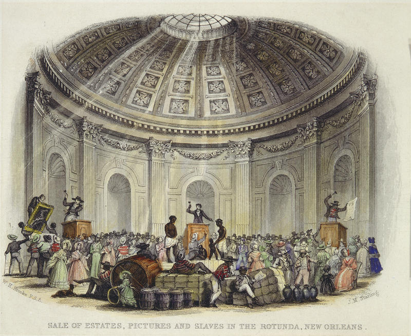 rotunda ceiling during an auction of slaves, artwork, and goods