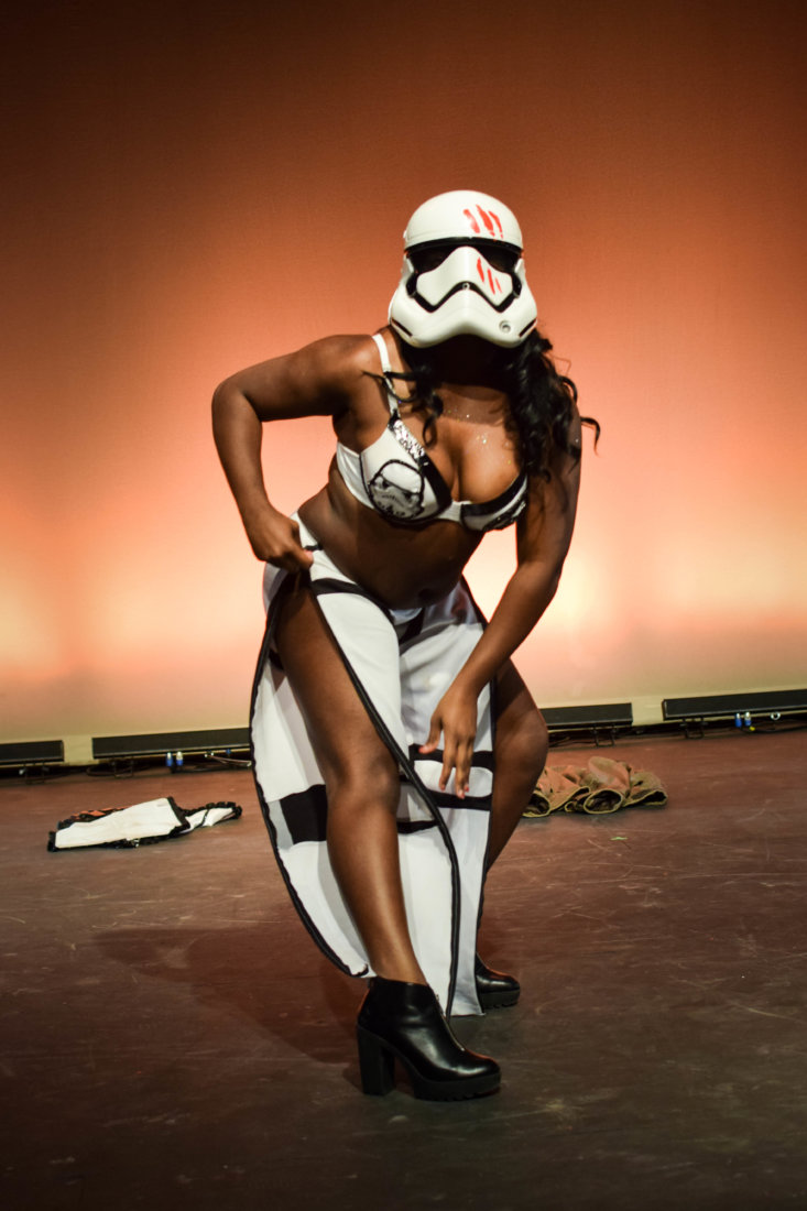 Takillya Sunrise performing as Finn from Star Wars at the 2017 NOLA Nerdlesque Festival (photo credit Mis Guided)
