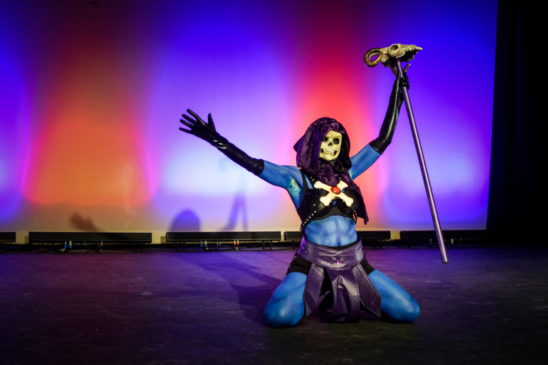 Sable Switch performing as Skeletor at the 2017 NOLA Nerdlesque Festival (photo credit Mis Guided)