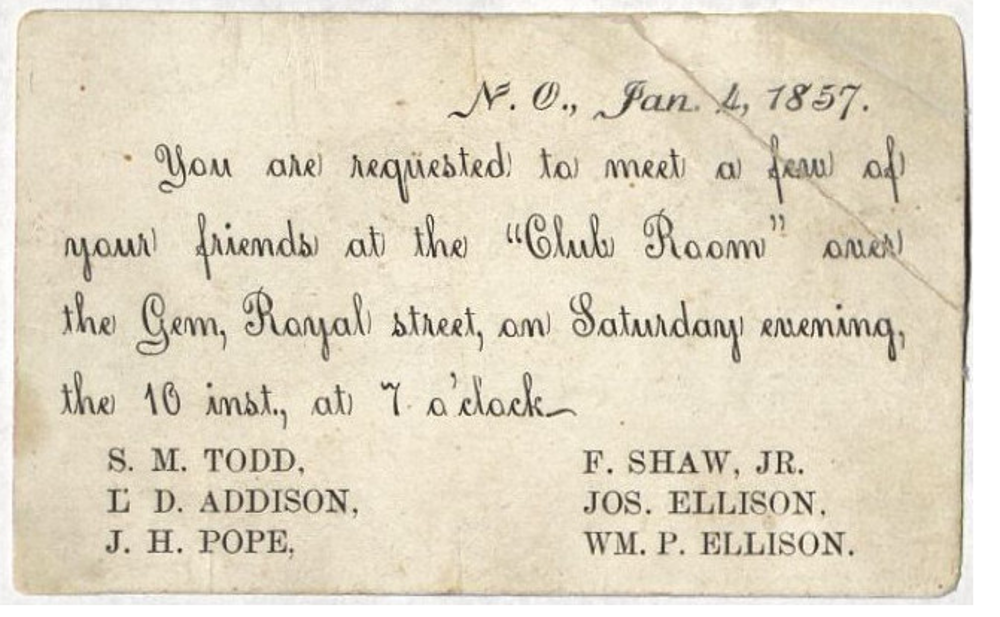History of mardi gras in the early years gonola an invitation to the meeting that formed comus courtesy the louisiana research collection at tulane university publicscrutiny Image collections