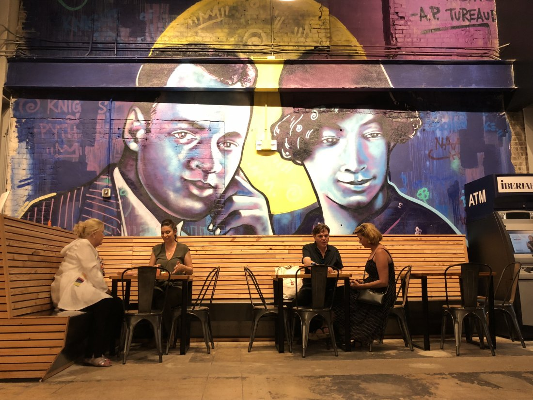 "Mural of A. P. Tureaud and Lucille Dejoie at the Pythian by Brandan ""Bmike"" Odums (photo by Emily Ramirez Hernandez)"