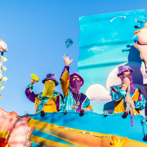 Mardi Gras float throws
