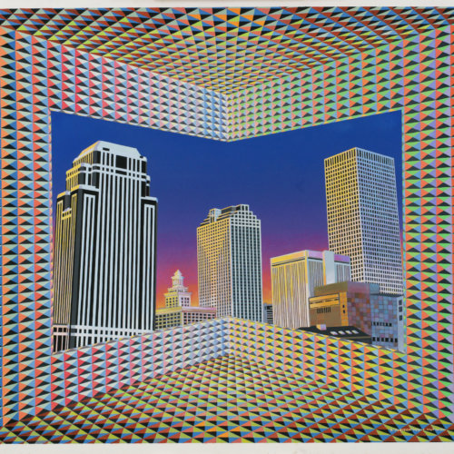 Cityscape ; 1987; gouache on paper by Krista Jurisich; The Historic New Orleans Collection , gift of Judith L. Jurisich, 2017.0021 (courtesy of courtesy of The Historic New Orleans Collection)
