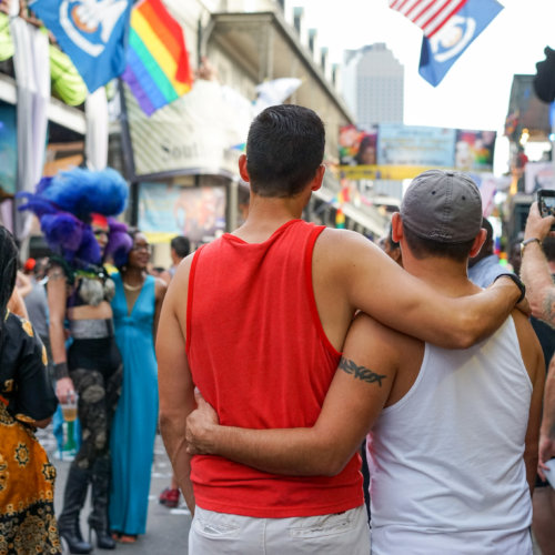 Couple watching Southern Decadence