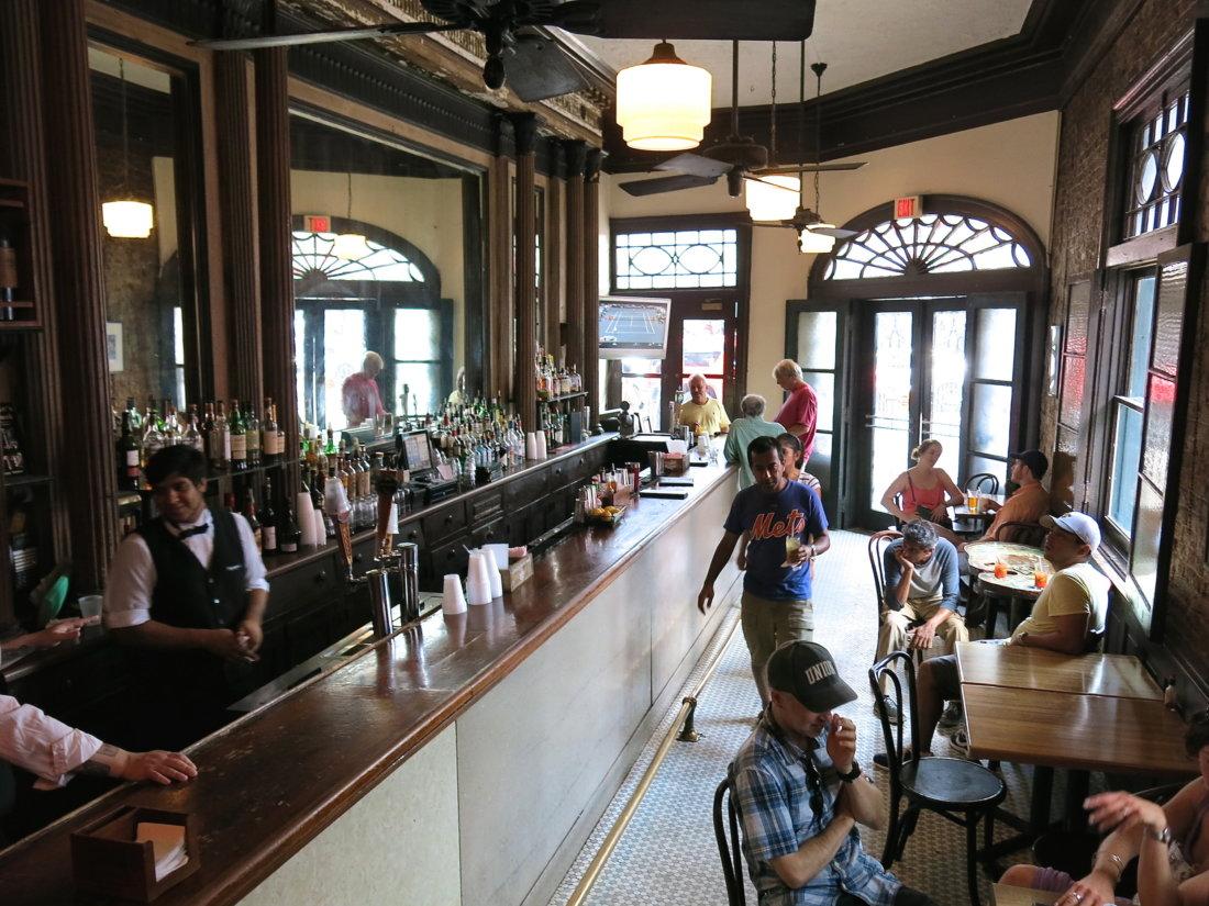 The bar at Tujague's. (Photo credit: Christopher Garland.)