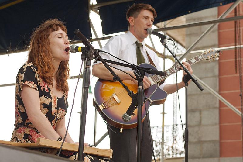 Esther Rose and Luke Winslow-King performing at French Quarter Fest.     Photo by Derek Bridges