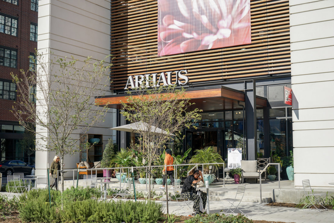 The Park building is anchored by Arhaus, the national furniture and housewares chain. Also in the building is a CVS pharmacy, an ample public parking garage, Hattie Sparks boutique, and the location of Enterprise Car Share -- an hourly car rental service where you can pick-up and drop-off cars for short trips.