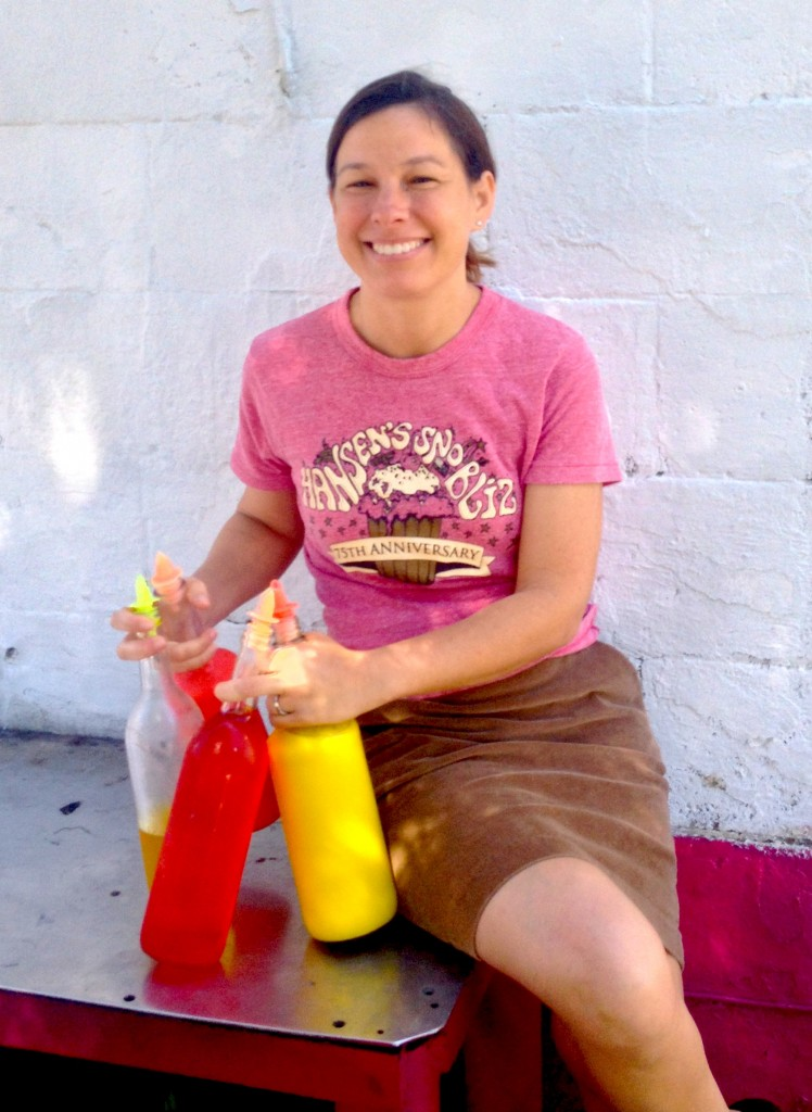 Ashley Hansen in front of Hansen's Sno-Bliz