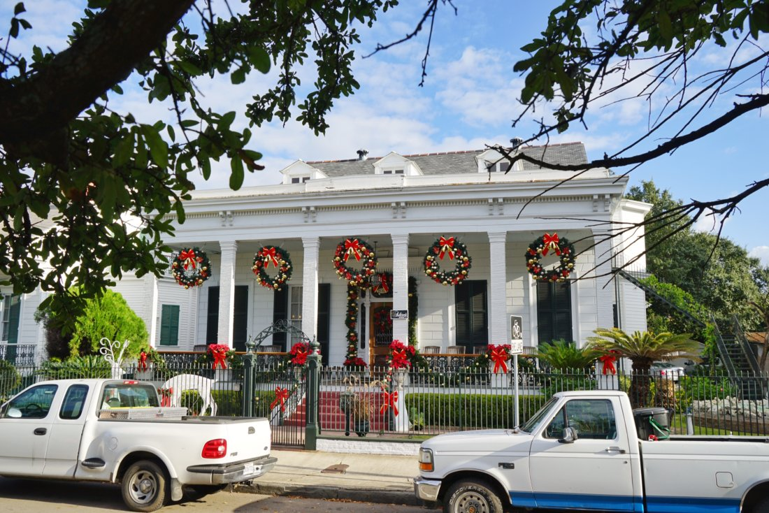 This bed and breakfast on Esplanade Avenue pulls out all the stops for their holiday decorations each year. It's beautiful during the day, and intricately lit at night. I pass by this center hall mansion regularly, and it never fails to make me stop and appreciate the wonder of the holidays in New Orleans.