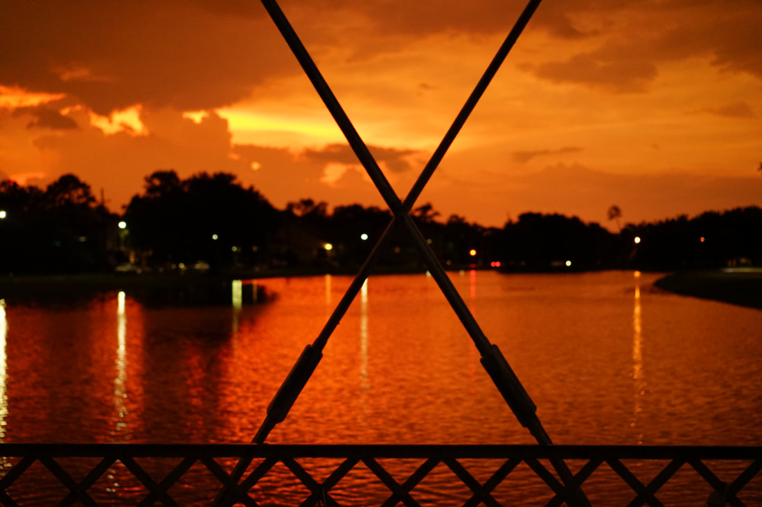 Every once in awhile the sunset looks like this! This was during an epic summer lightning storm when the entire sky turned vivid orange for a few minutes. I was in the right place at the right time on the Cabrini bridge in Bayou St. John.