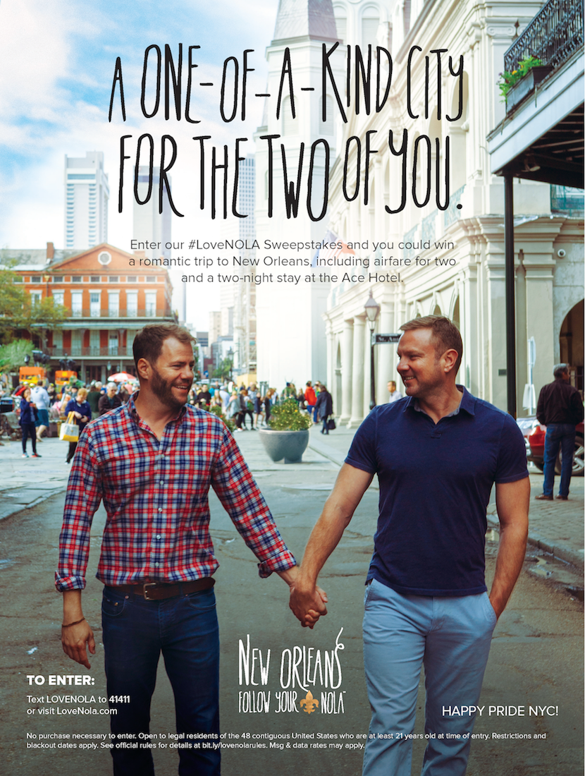 New Orleans was featured on the back cover of this year's NYC Pride Guide. An iconic shot of New Orleans, featuring a gay male couple captures the romance and vibrance of the city and its LGBTQ community.