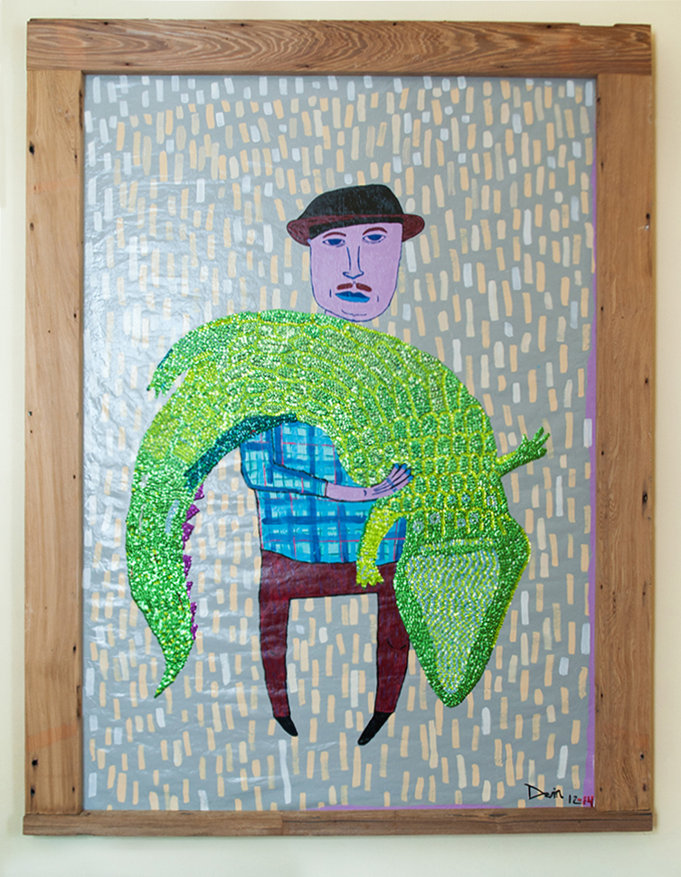 """Gator"" by Devin DeWulf, oil on canvas with hand-sewn bead and sequins 4' x 6'"