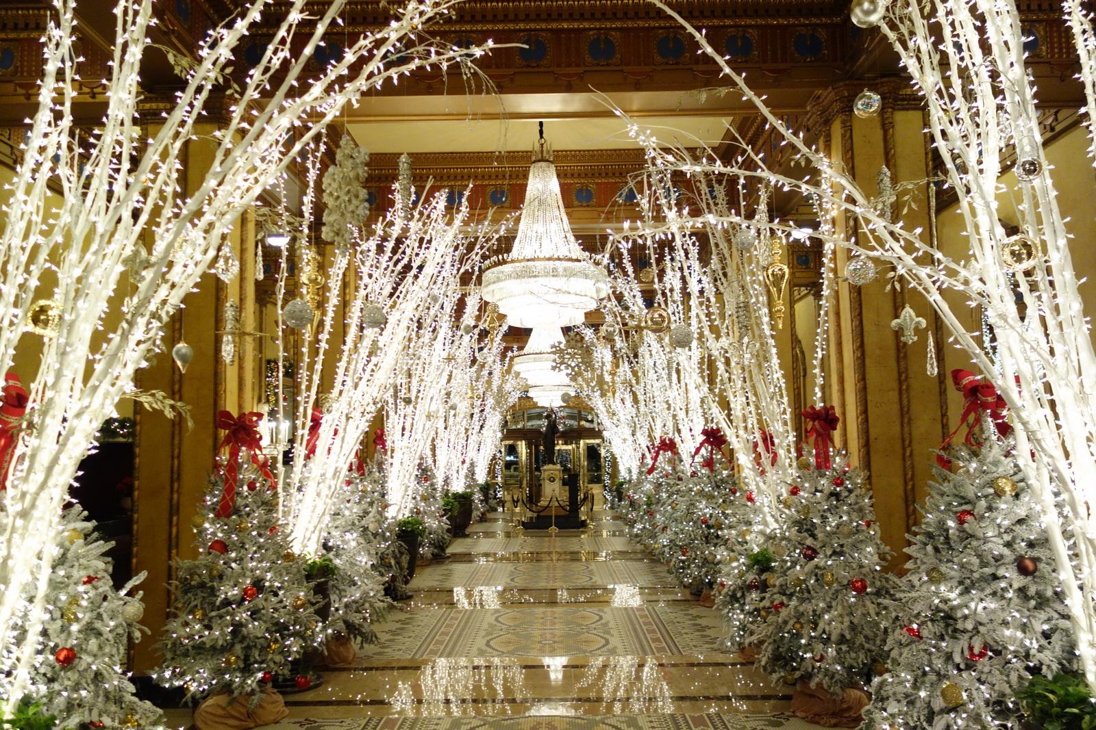 Waldorf Wonderland Lobby Roosevelt Hotel New Orleans Holiday Decorations