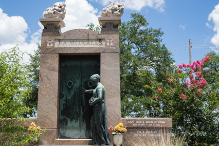 The Flaming Tomb of Storyville Madam Josie Arlington in Metairie Cemetery, now the resting place for the Morales family (Arlington was moved elsewhere in the cemetery)