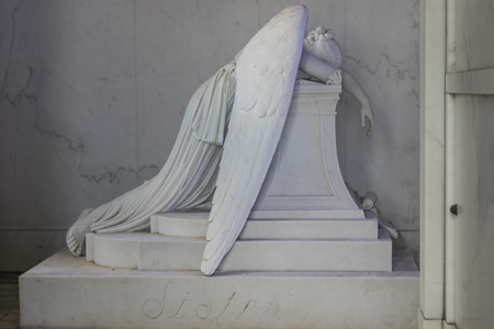The Weeping Angel inside the Chapman Hyams tomb in Metairie Cemetery