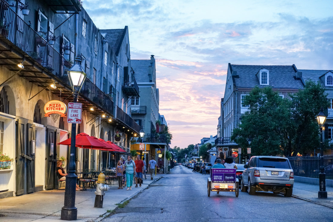 If you're in the French Quarter, it's difficult to imagine a more picturesque spot to enjoy the beauty of the old-world architecture and a gorgeous sky at the same time. Most streets have unique perspectives, and that magical glow when the sun goes down -- my favorite streets to catch some final rays of the day are the ones that go perpendicular to the Mississippi River -- St. Peter, St. Ann, Orleans, St. Philip, Dumaine, Urusulines, Governor Nicholls, and Barracks are probably the best. The views down Royal, Decatur, and Bourbon are also particularly wonderful, too!