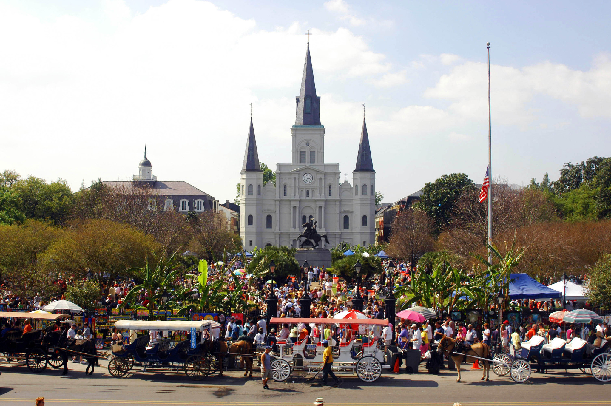 French Quarter Fest extends throughout the entire historic neighborhood, including in Jackson Square. (Photo courtesy of New Orleans Tourism Marketing)