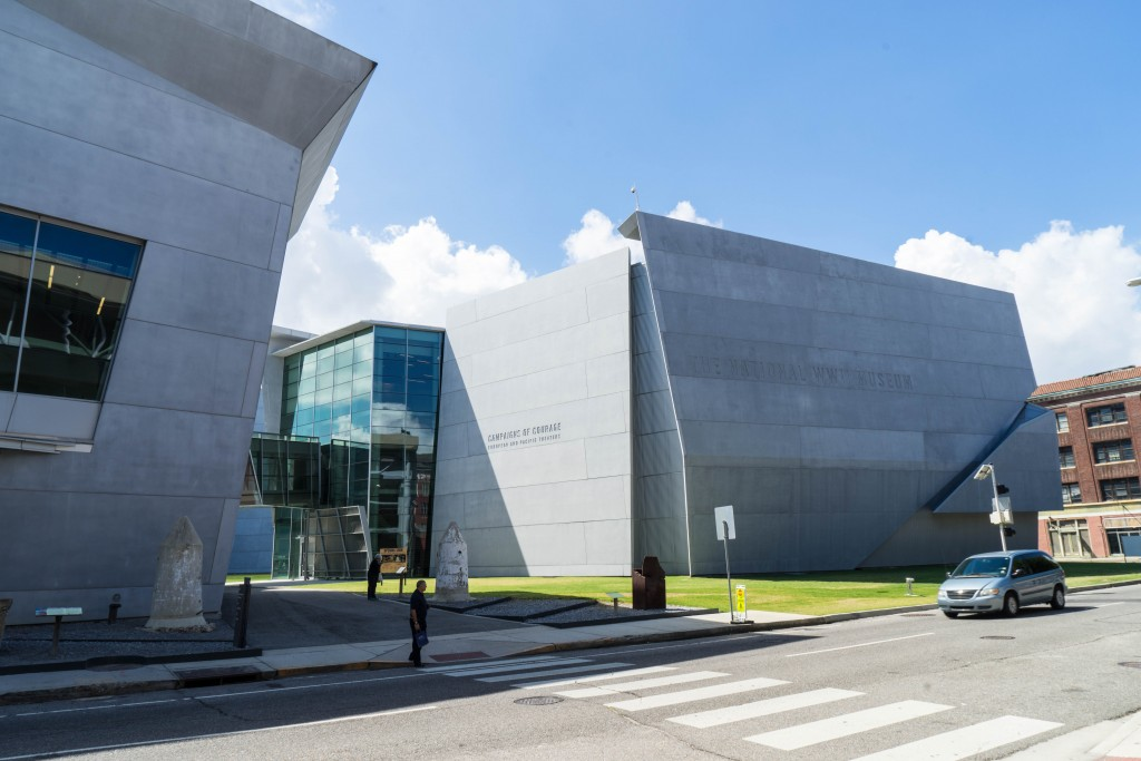 The National WWII Museum in Downtown New Orleans is a great example of contemporary architecture and urban renewal in New Orleans, with its undulating, irregular masses of cast concrete, metal and glass panels.