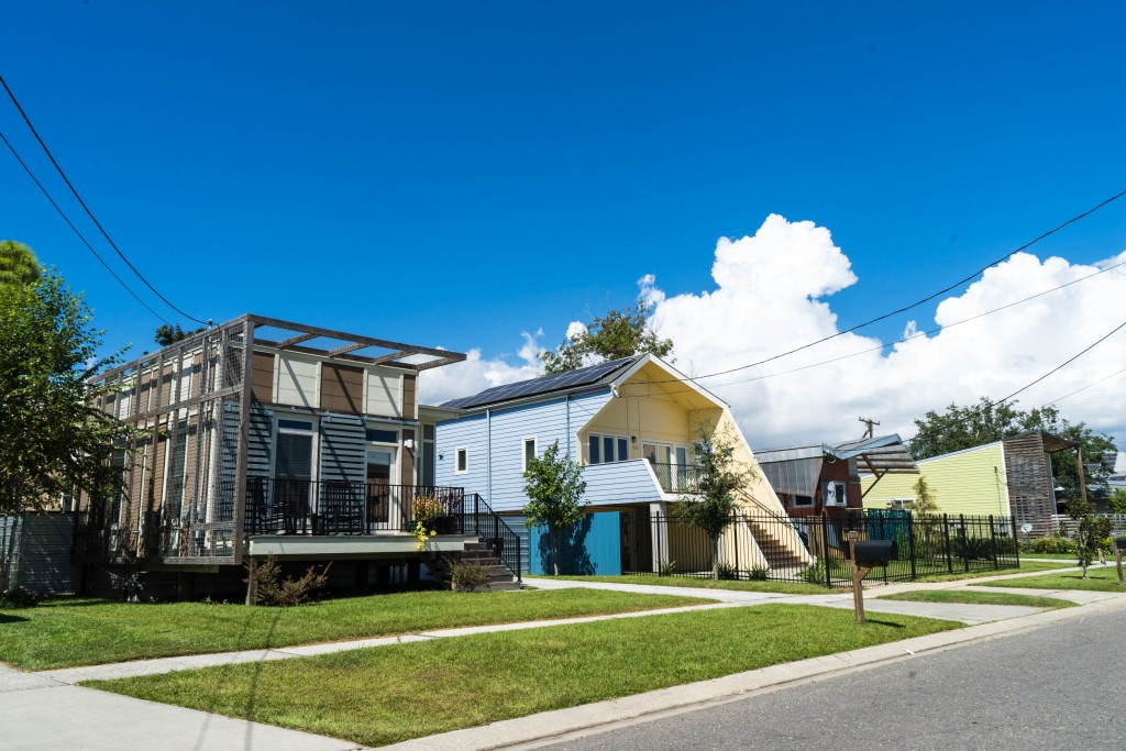 Homes in the Lower Ninth Ward of New Orleans were rebuilt after Hurricane Katrina through the Make It Right Foundation and were designed by a who's who of architects from around the globe and New Orleans.