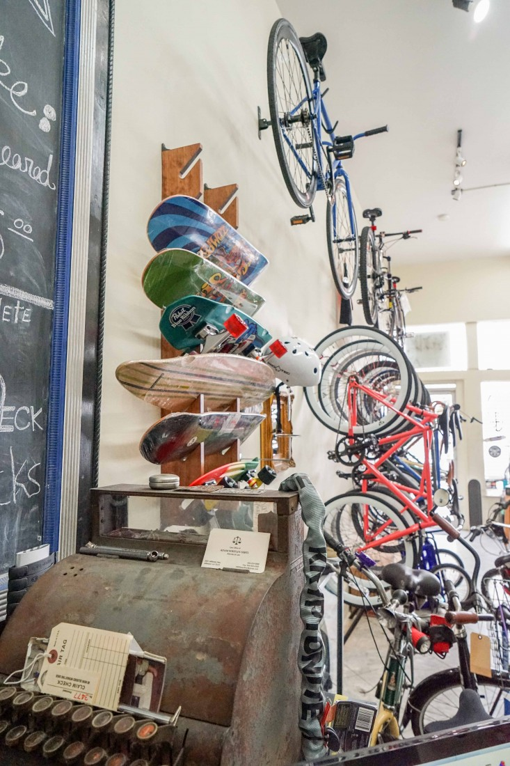 NOBS - the New Orleans Bike and Board Shop is the spot on Oak to purchase a new bike or skateboard, or get a bike repaired or serviced. During the peak seasons of Mardi Gras and Jazz Fest they also rent out bikes, too.
