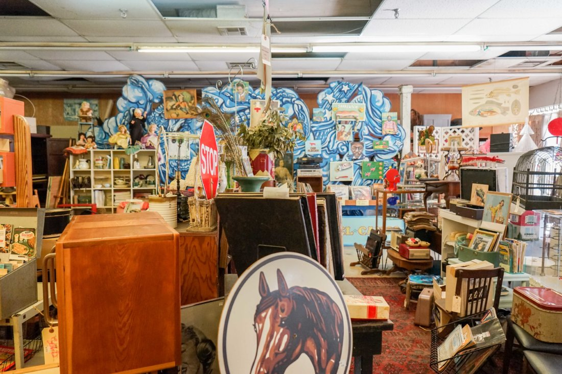 Where do you look in a place that's chock full of vintage finds?! Rabbit Ears harkens back to the golden era of thrift store housewares sections, with something for everyone, including new local art, vinyl records, paintings and cool second hand furniture.