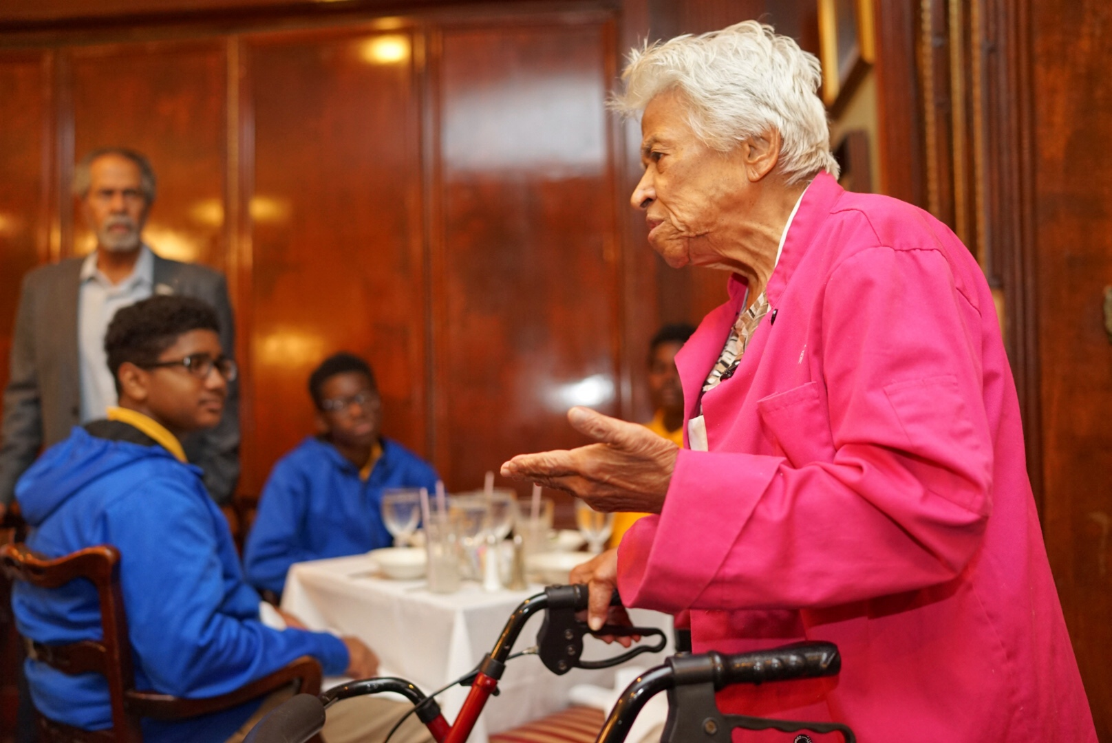Leah Chase passes along words of wisdom to local kids during a special event at her restaurant, Dooky Chase's. (Photo: Paul Broussard)