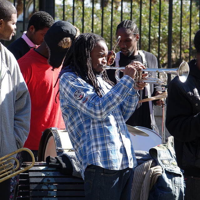 Brass Bands play daily in front of St. Louis Cathedral in Jackson Square