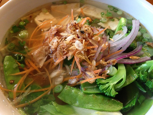 The Tofu and Vegetable Pho from Lilly's on Magazine Street