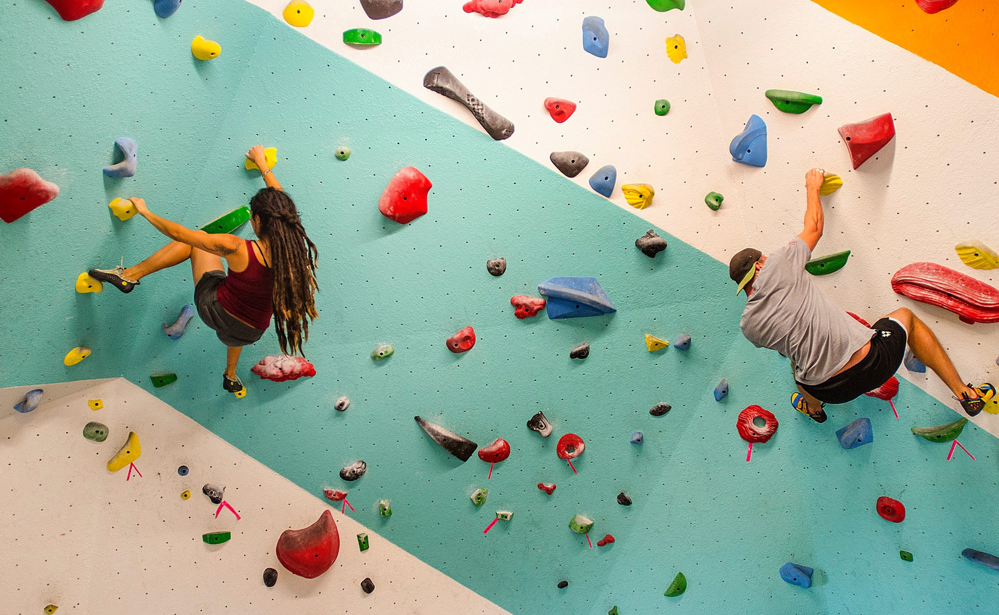 The colorful climbing wall at NOBL. (Photo via New Orleans Boulder Lounge on Facebook)