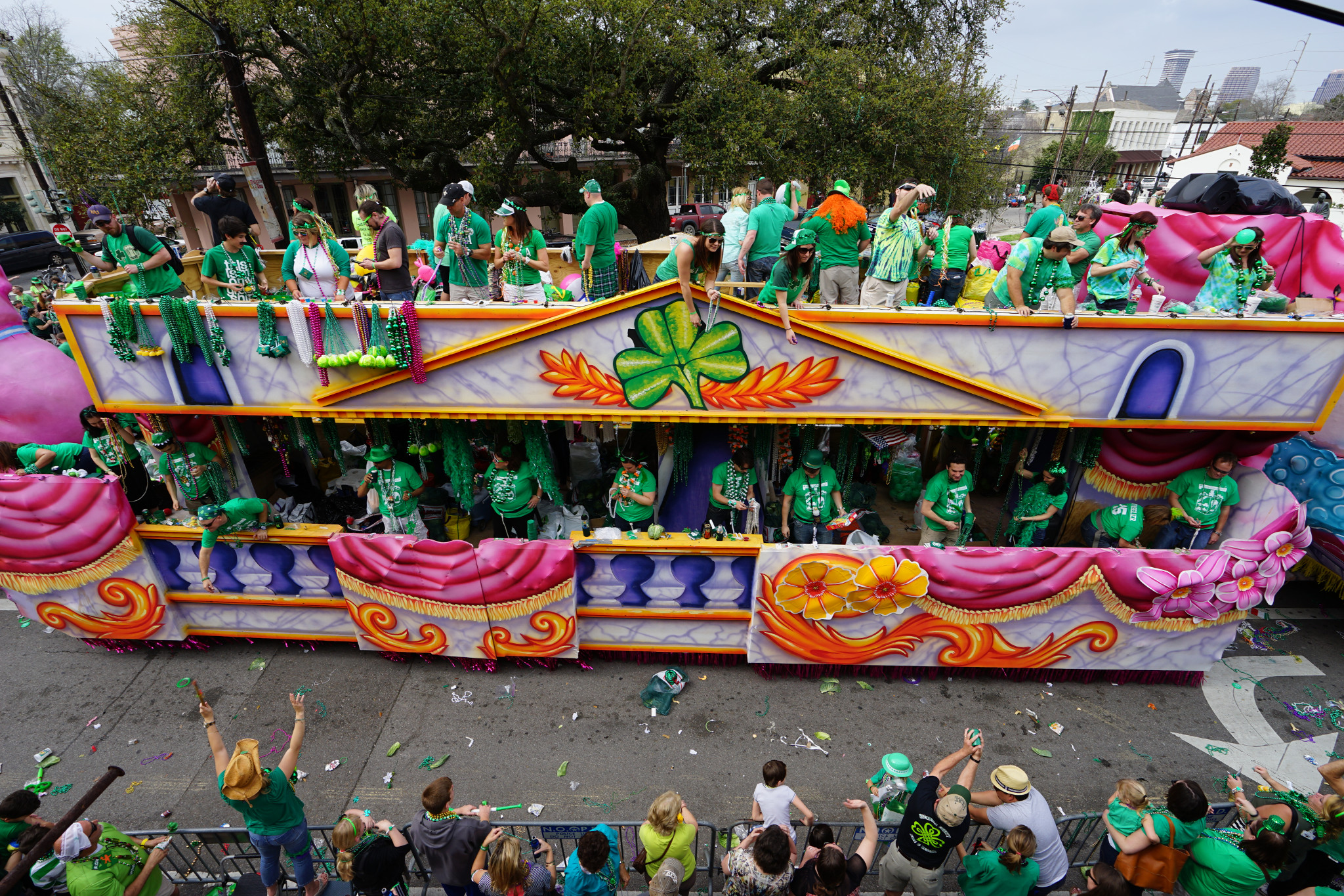 A float from one of the city's St. Patrick's Day parades. (Photo via New Orleans Tourism Marketing Corp.)