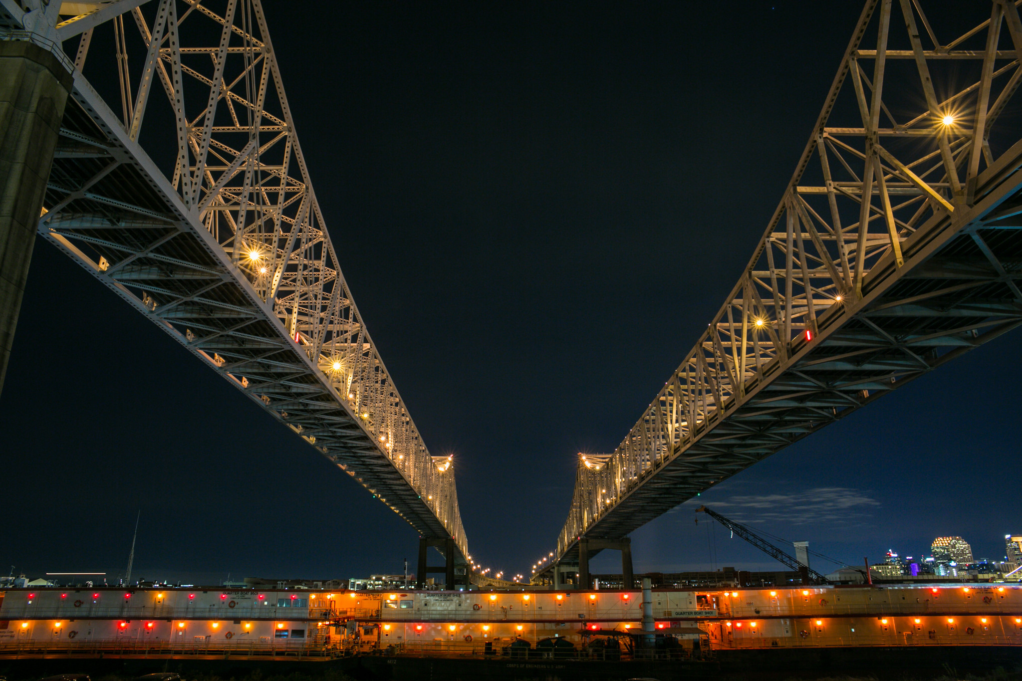 The Crescent City Connection at night. (Photo: Rebecca Todd)