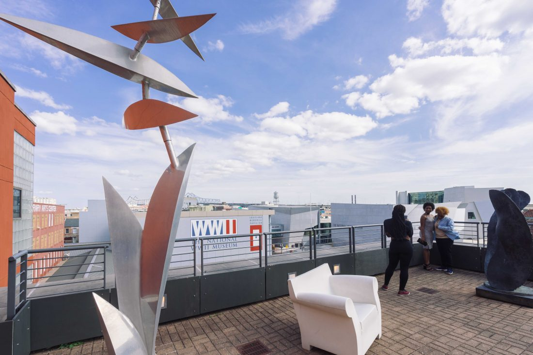 This kinetic sculpture by New Orleans artist Lin Emery is on the rooftop at the Ogden Museum of Southern Art on Camp Street, across the street from the Contemporary Arts Center and National WWII Museum.