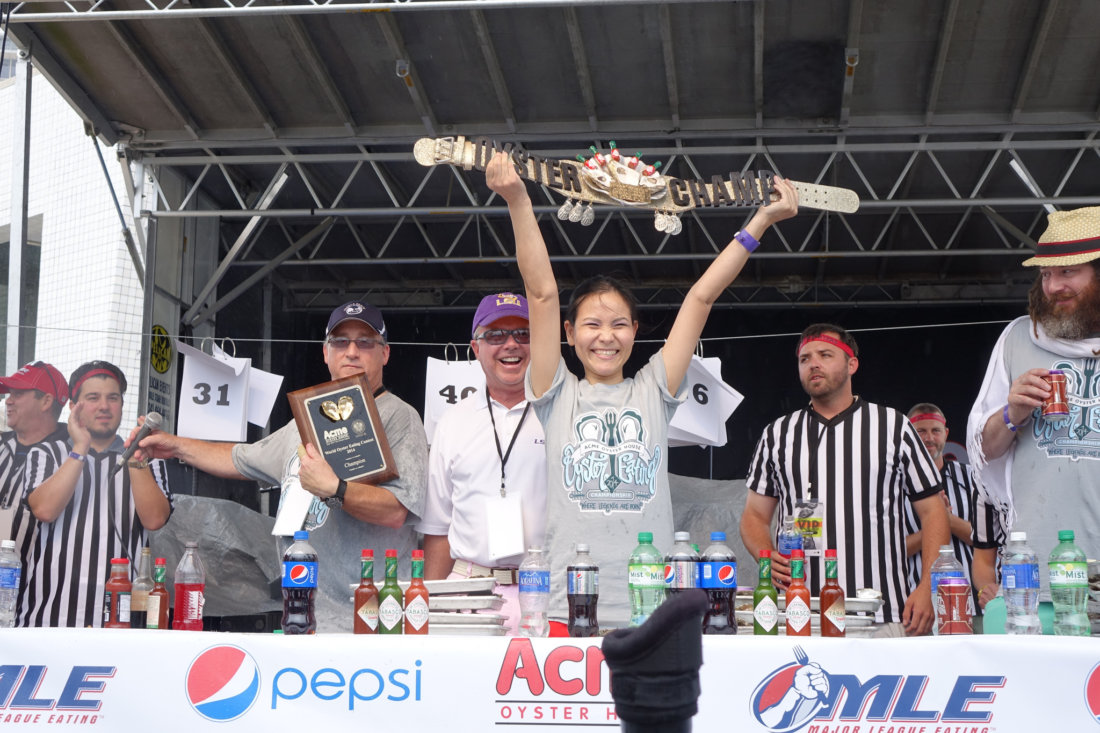 "Sonya ""The Black Widow"" Thomas is the reigning champ of the Acme Oyster House Oyster World Oyster Eating Championship, a real MLE event."