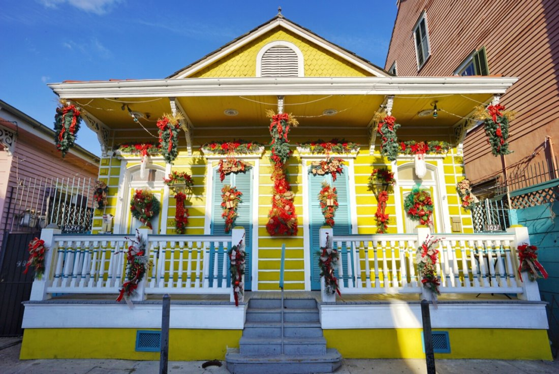Maybe my favorite decorated home in New Orleans, this cheery shotgun style home on St. Ann Street between Rampart and Burgundy in the French Quarter is decorated to the nines year round for every holiday.