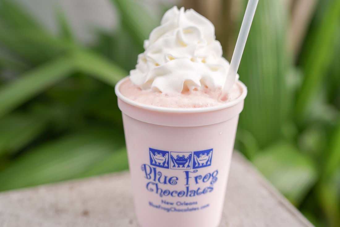 Stop in for one of their frozen beverages, like this Nectar Cream one, reminiscent of old NOLA soda shop flavors -- it's sweet, fruity vanilla taste is really like drinking a puffy, pink cloud. Nectar Cream still exists to this day as a popular snoball stand flavor.