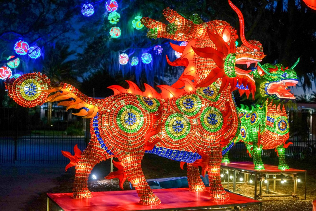 A closeup of the Qilin, the Chinese Fortune Animal, with the Chinese Ornaments hanging in the ancient oak trees along Victory Avenue -- near the entrance to the Botanical Garden.