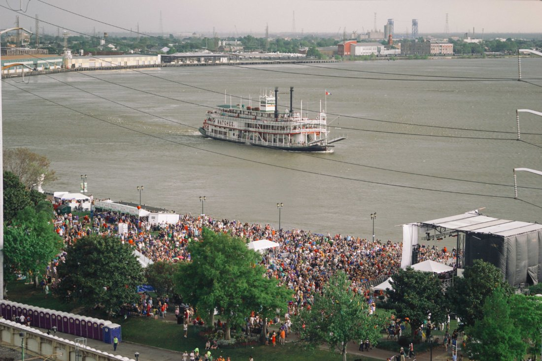 The steamboat Natchez passes (and docks) in front of the Abita Beer Stage in Woldenberg Park.