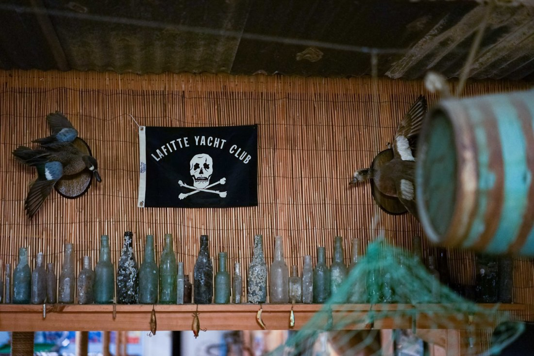 The Bourgeois fishing camp is where we meet up and depart from -- inside it has antique bottles and other ephemera found during fishing trips and along the bayous.