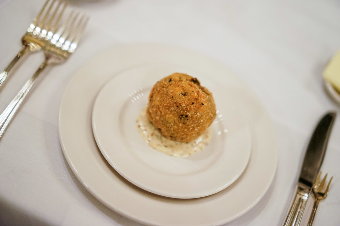 Our Catch and Cook dinner began with a twist on a familiar Cajun classic...an amuse bouche of a seafood boudin ball. Instead of pork, Chef Michael has replaced the rice and meat mixture with crab and shrimp, battered and deep fried and served traditionally with a Creole mustard.