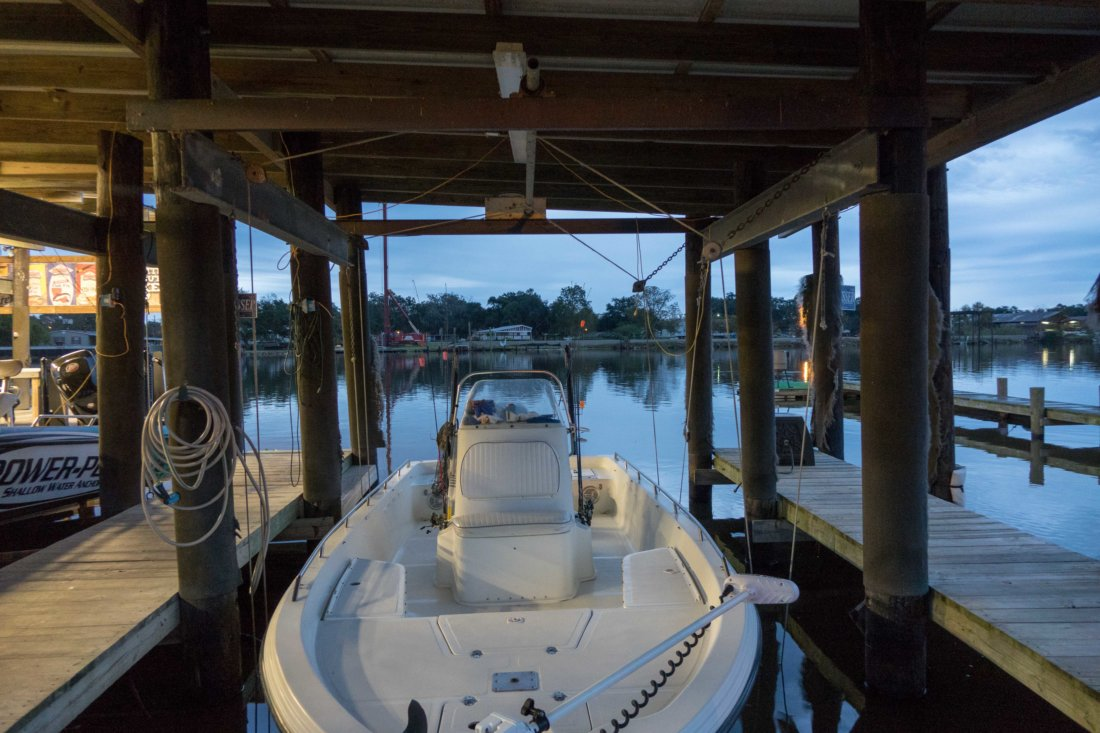 Our group took two small outboard motor boats, necessary for navigating the shallow, marshy waters of south Louisiana. We met up at the camp and departed before dawn. Early birds catch the best fish, and the sunrise!