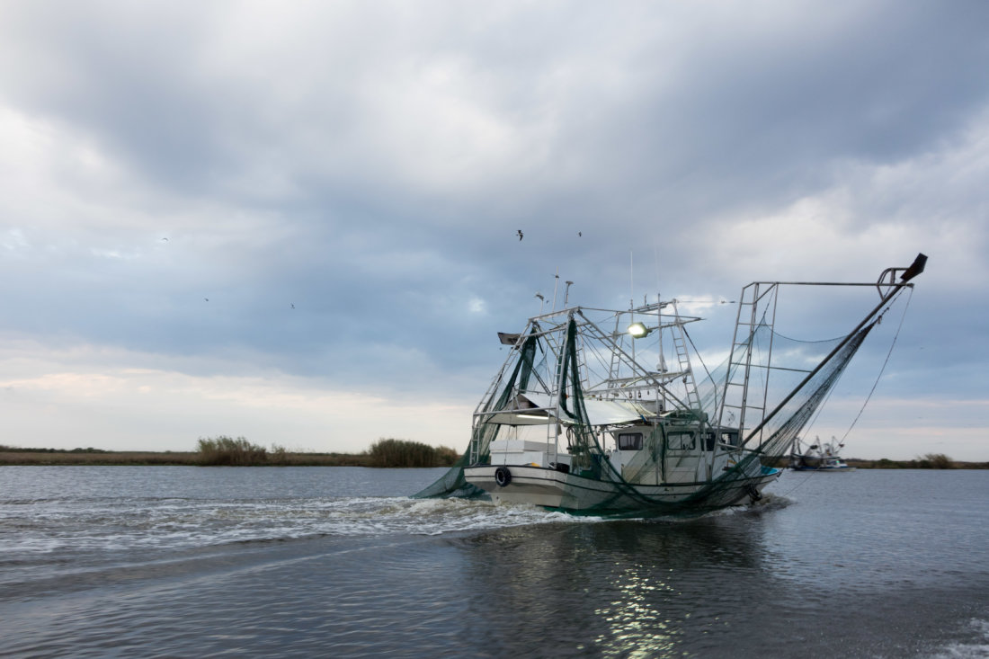 Once you leave the city of New Orleans, you're quickly reminded of how vast the swamps and marshes and open waters of Louisiana are everywhere. We didn't run into very many other people or boats while we were out fishing. We did see this shrimping boat hard at work, though.