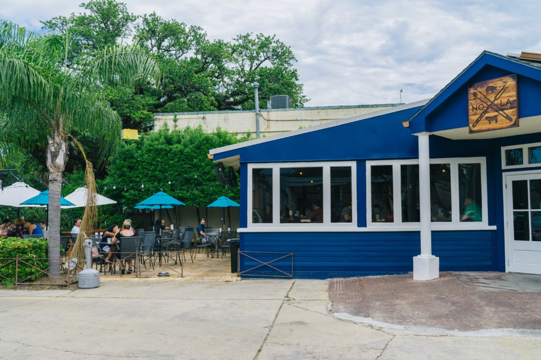 Barbecue al fresco at Blue Oak BBQ on the North Carrollton Avenue Streetcar line in Mid-City. It's all about the location at Blue Oak: you can see City Park from the front of the restaurant.