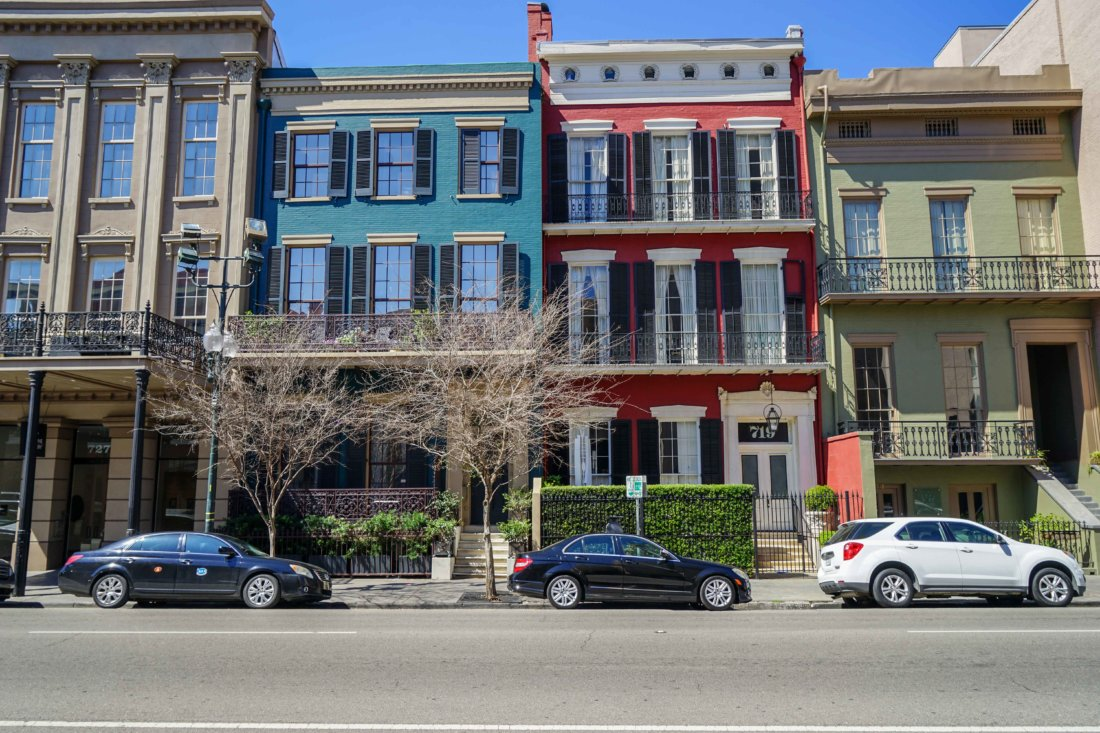 This grouping of townhouses along Camp Street across from St. Patrick's Church takes us back to the old Faubourg Ste. Marie, one of the original New Orleans suburbs, now a part of downtown New Orleans. This group of buildings is frequently seen in films and television shows, often times masquerading for New York City.
