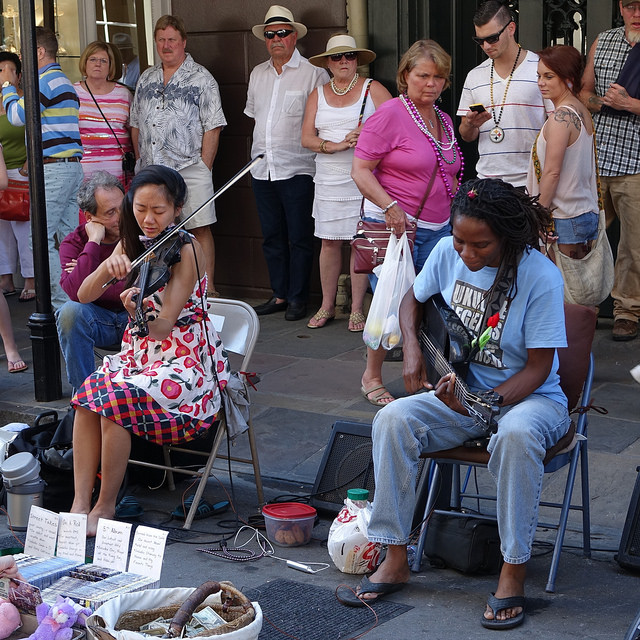 One of Royal Street's most popular street musician duos year round  are Tanya & Dorise