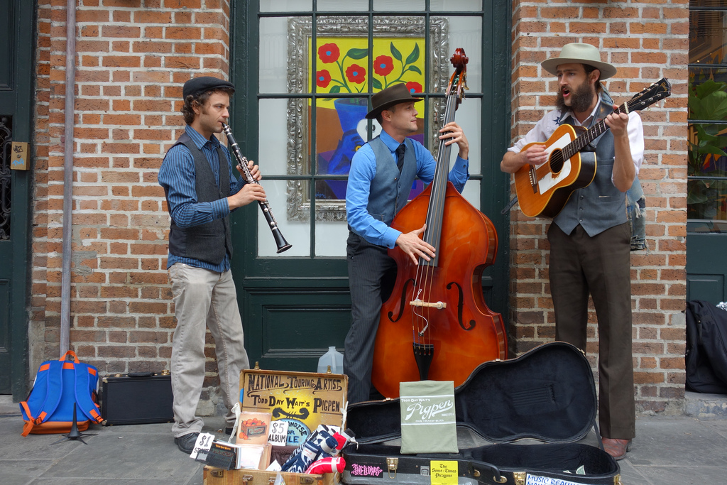 Bluegrass group Todd Day Wait's Pigpen performing in front of the Rodrigue Gallery on Royal Street