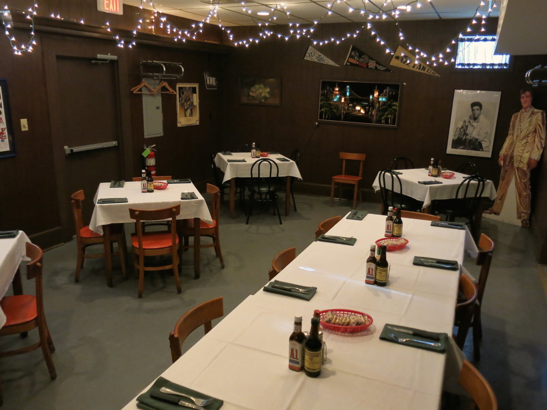 The upstairs dining room at Charlie's.