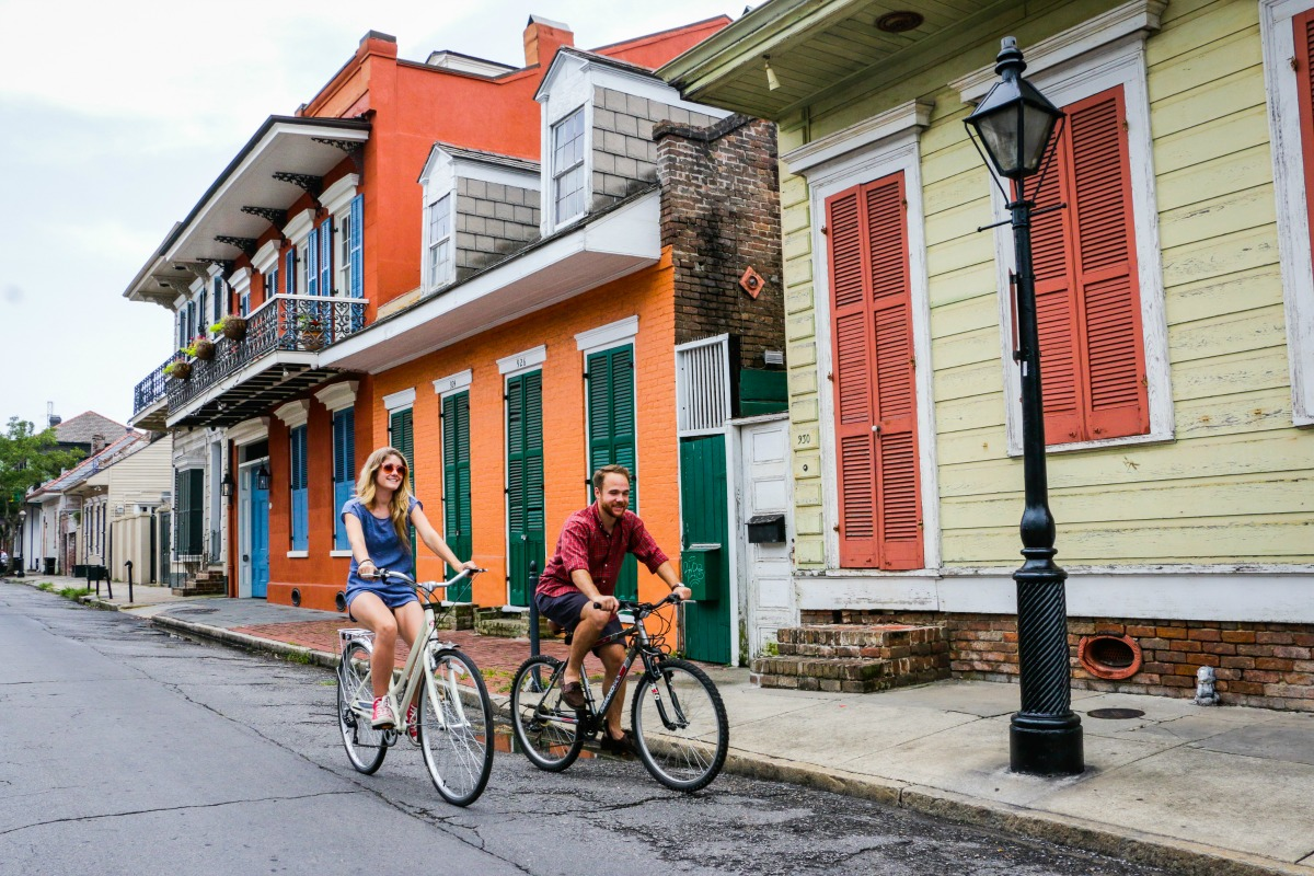 Riding bikes through the French Quarter. (Photo: Rebecca Ratliff)