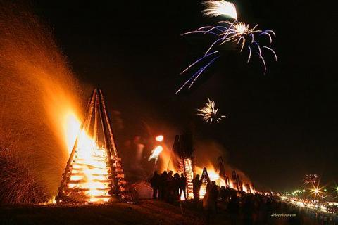 Bonfires on the Levee Christmas Eve Louisiana