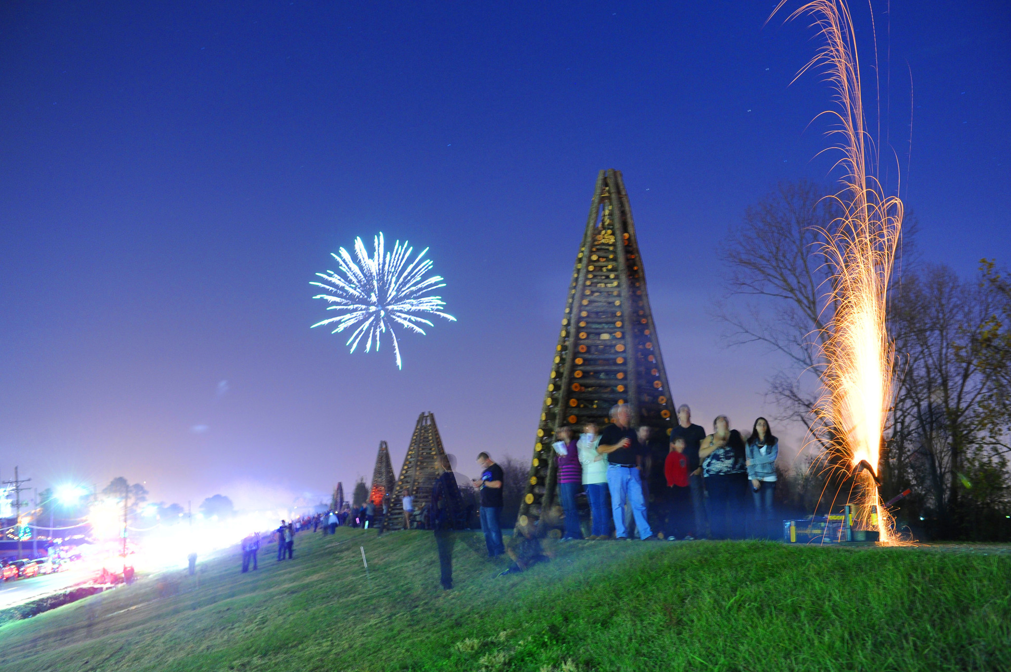 Bonfires (and fireworks) on the levees are a holiday tradition. (Photo: Cheryl Gerber)